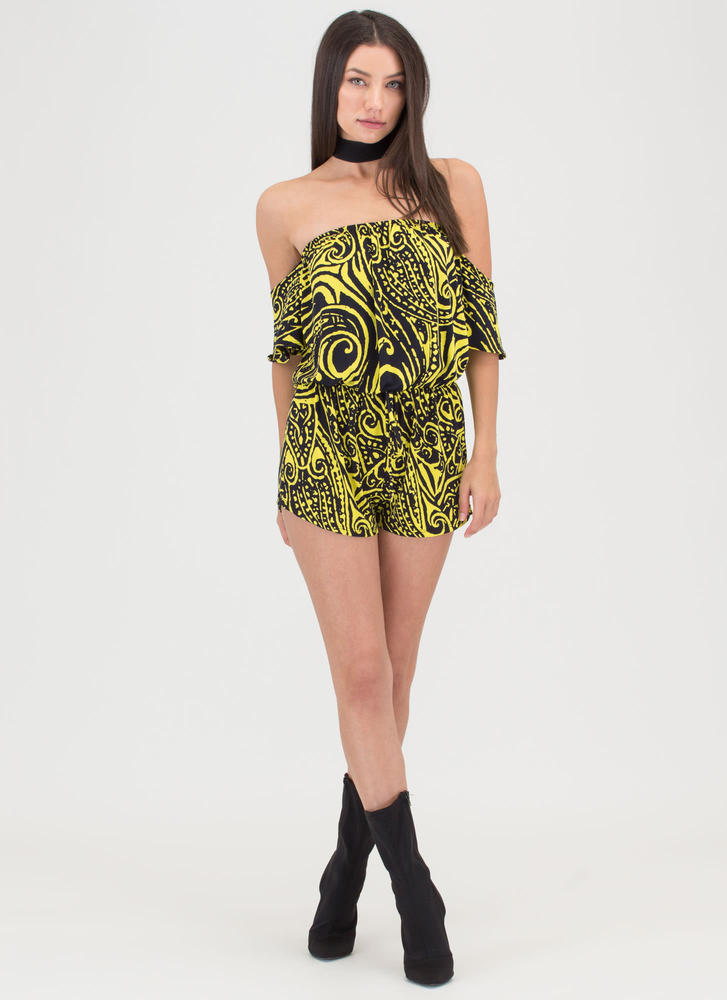 Abstract Ideas Off-Shoulder Romper YELLOW