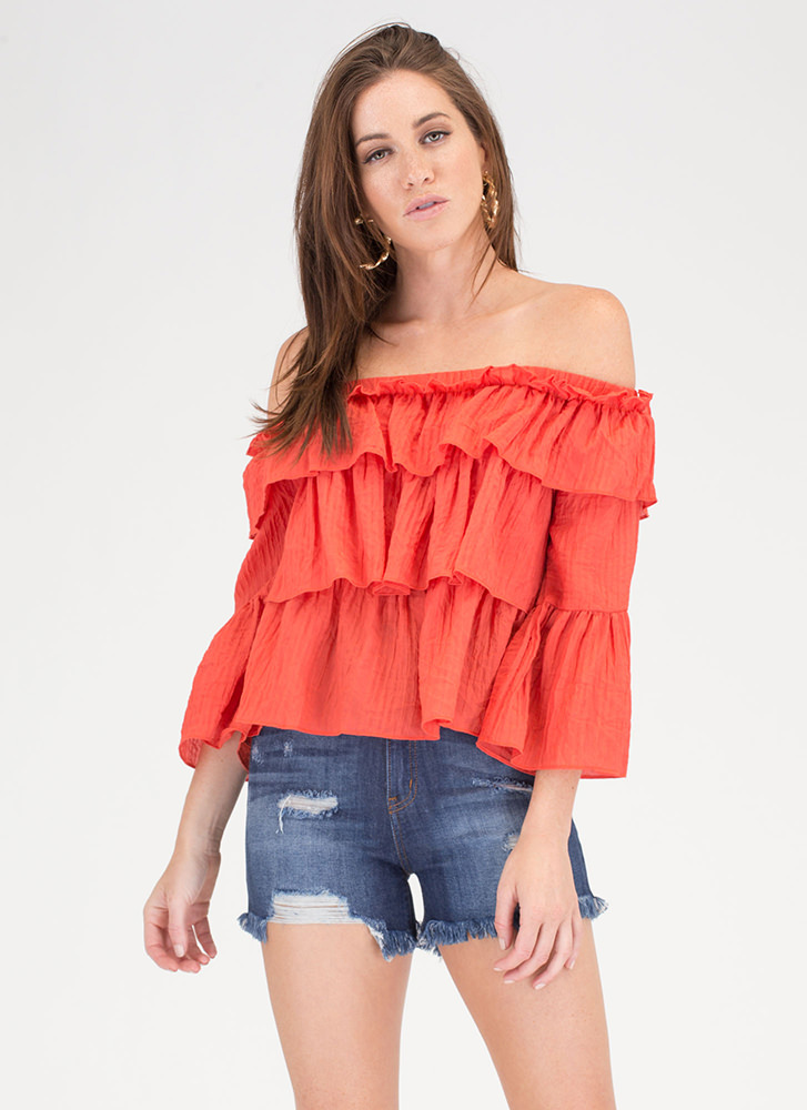 bb3e84ec1ecc Textured Tale Ruffled Off-Shoulder Top DKORANGE (Final Sale) ...