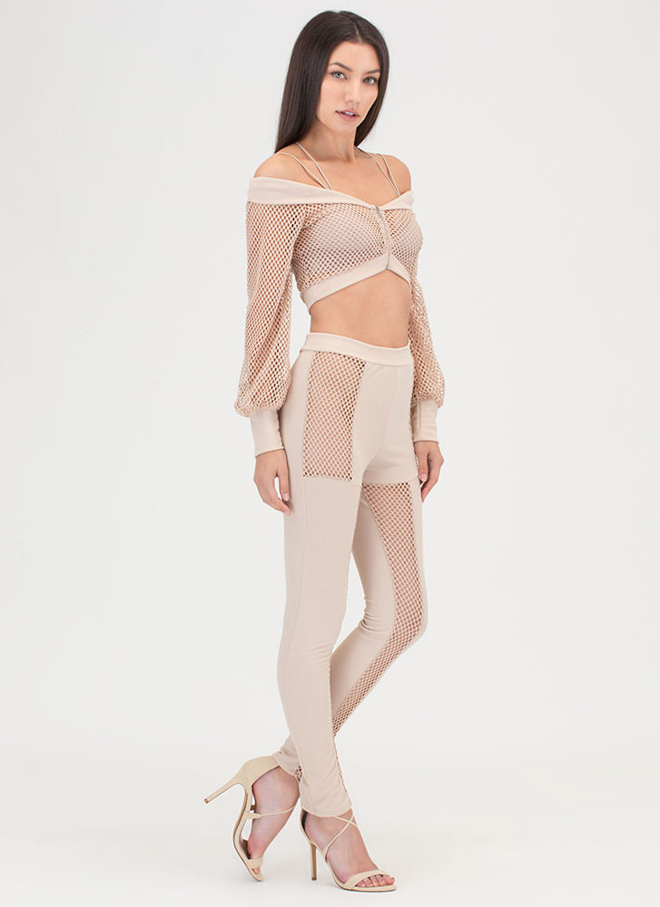 Mesh Up Off-Shoulder Top And Pant Set NUDE
