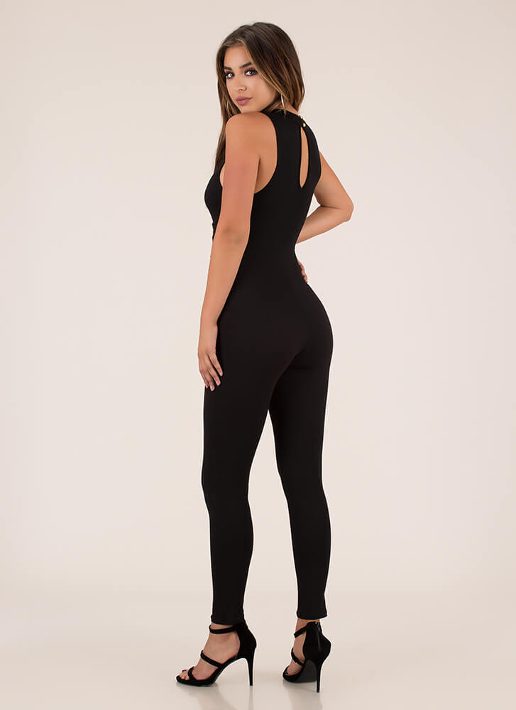 Tie It In Corset Mockneck Jumpsuit BLACK