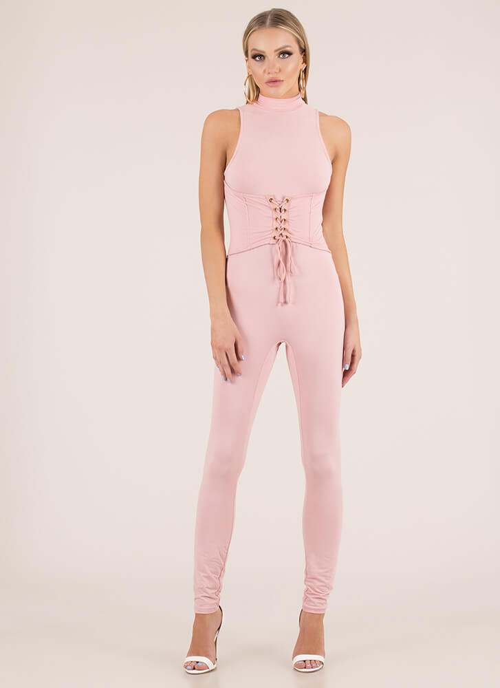 34b3840aafc Tie It In Corset Mockneck Jumpsuit BLUSH BLACK WHITE - GoJane.com