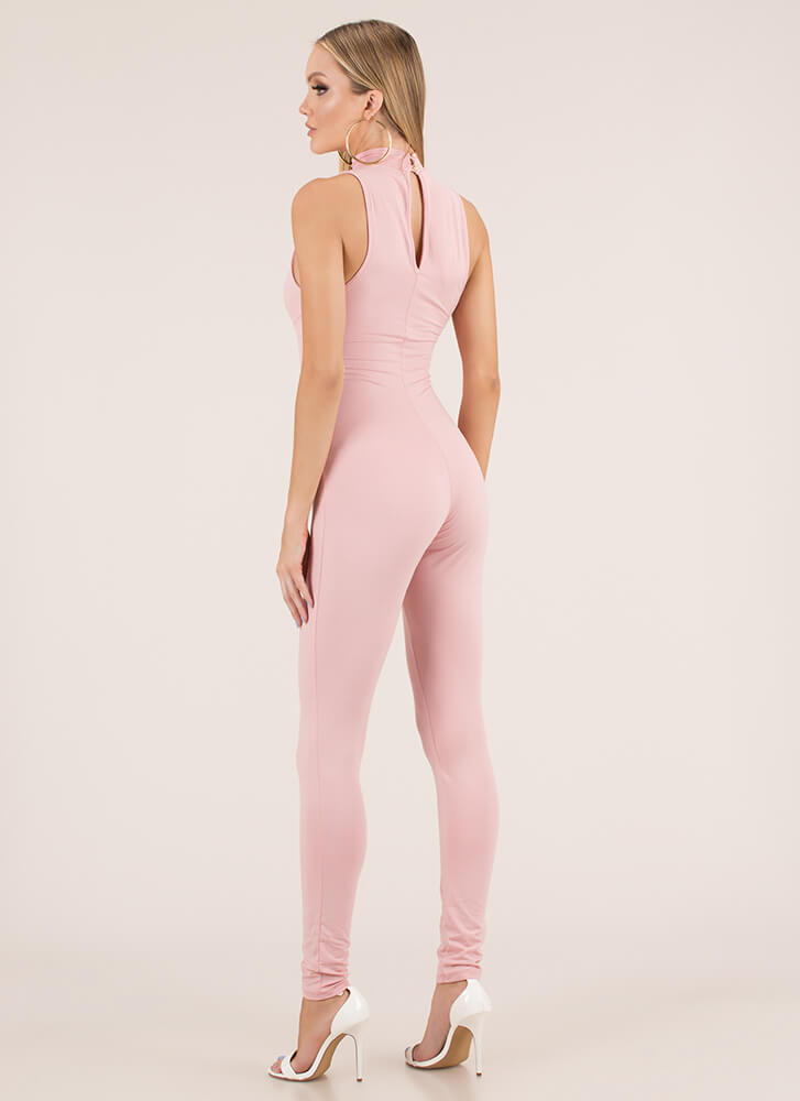 Tie It In Corset Mockneck Jumpsuit BLUSH