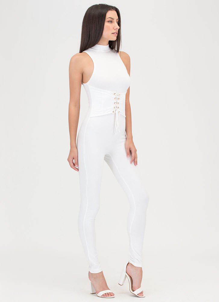 Tie It In Corset Mockneck Jumpsuit WHITE