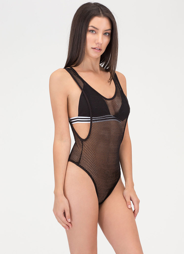 Hole Again Netted Thong Bodysuit BLACK