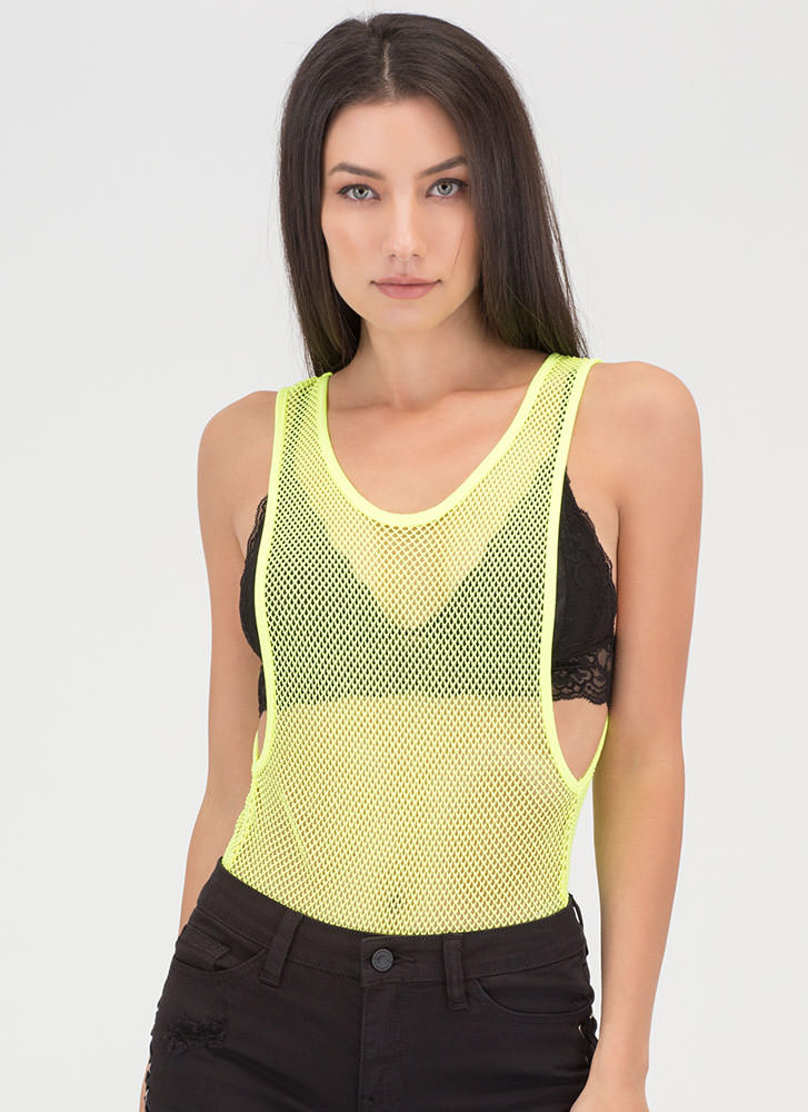 Hole Again Netted Thong Bodysuit NEONYELLOW