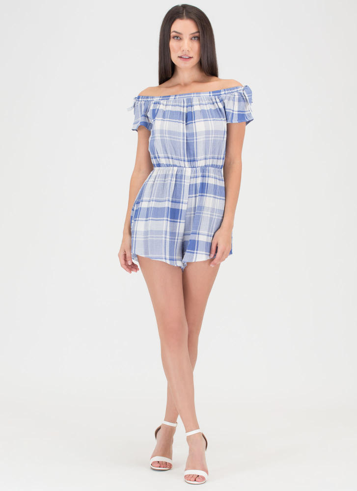 Plaid World Off-Shoulder Romper BLUE (Final Sale)