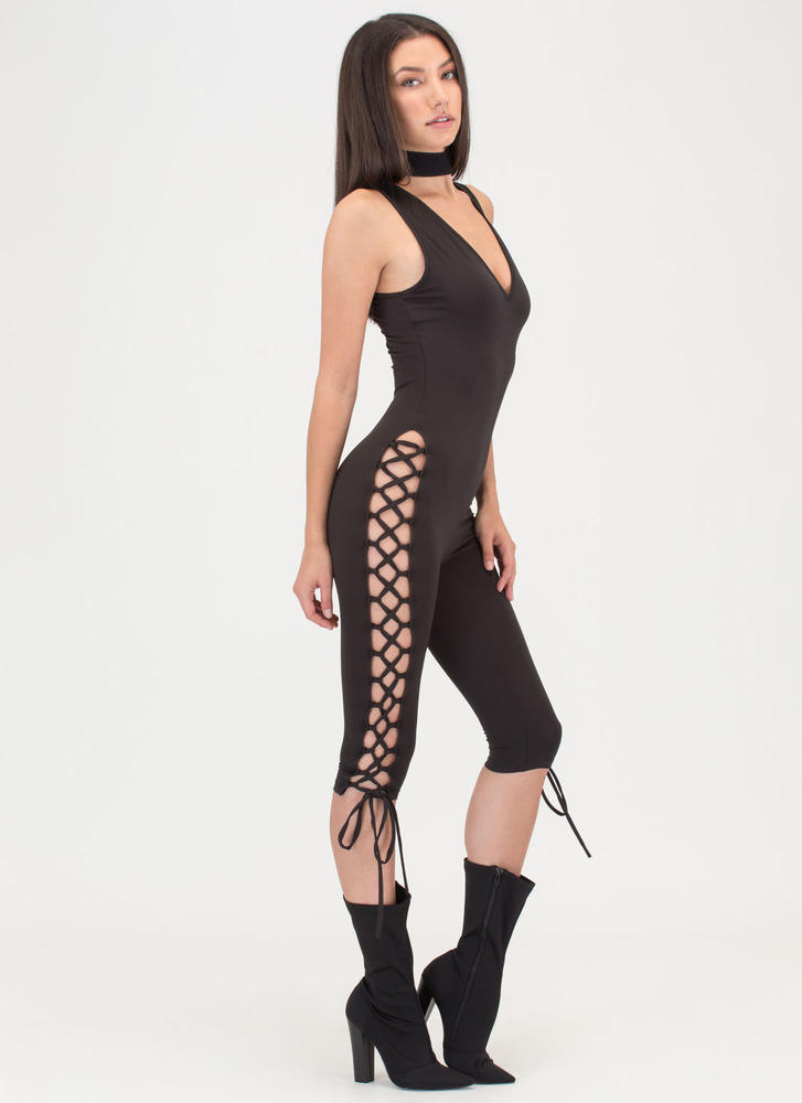 Tie For You Laced Capri Jumpsuit BLACK