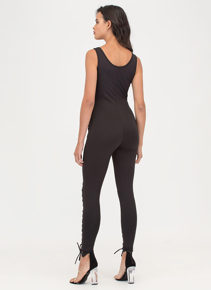 Lace The Facts Plunging Jumpsuit BLACK