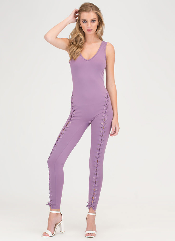Lace The Facts Plunging Jumpsuit LAVENDER