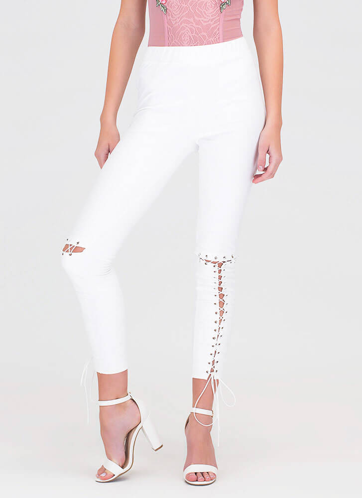 Tied Up Now Faux Suede Leggings WHITE