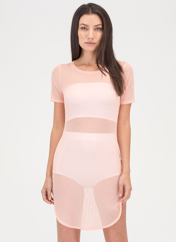 Sheer Beauty Tee Minidress PEACH