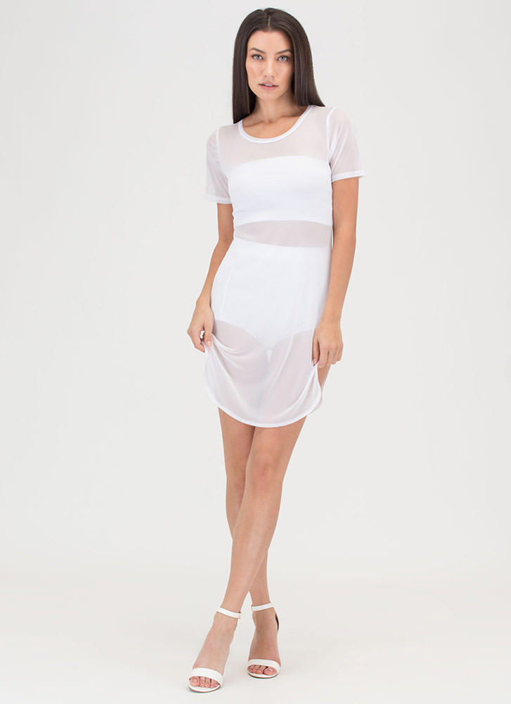 Sheer Beauty Tee Minidress WHITE