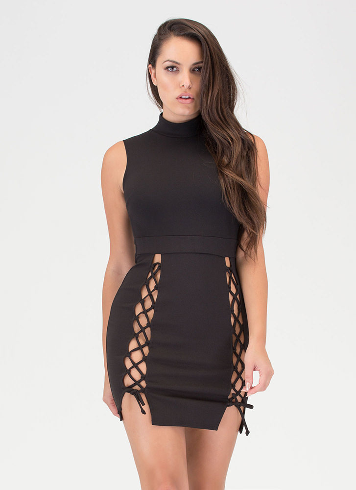 Tie Another Day Double-Slit Minidress BLACK