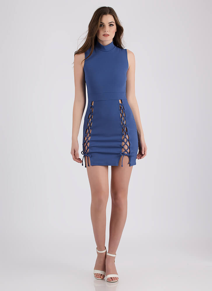 Tie Another Day Double-Slit Minidress DUSTYBLUE