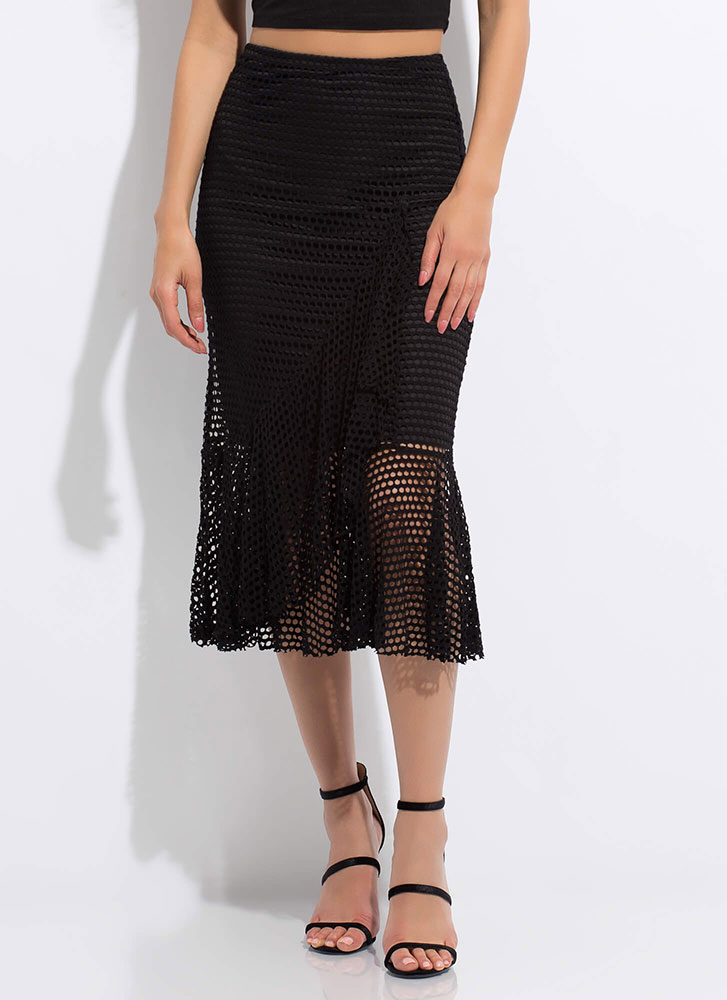 Sheer Enough Ruffled Net Midi Skirt BLACK