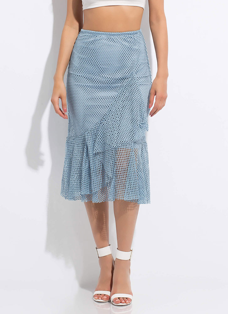 Sheer Enough Ruffled Net Midi Skirt DUSTYBLUE