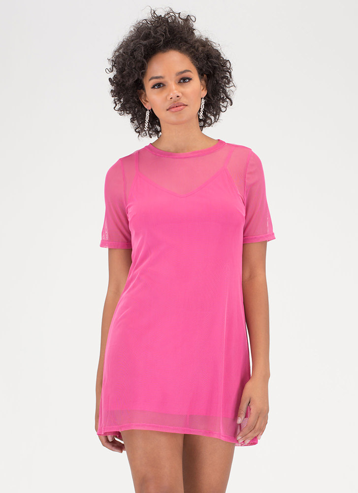 One-Two Punch Sheer Mesh T-Shirt Dress FUCHSIA (You Saved $14)