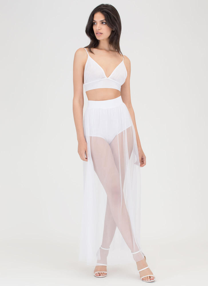 Sheer All About It Two-Piece Maxi Dress BLACK WHITE BLUE - GoJane.com
