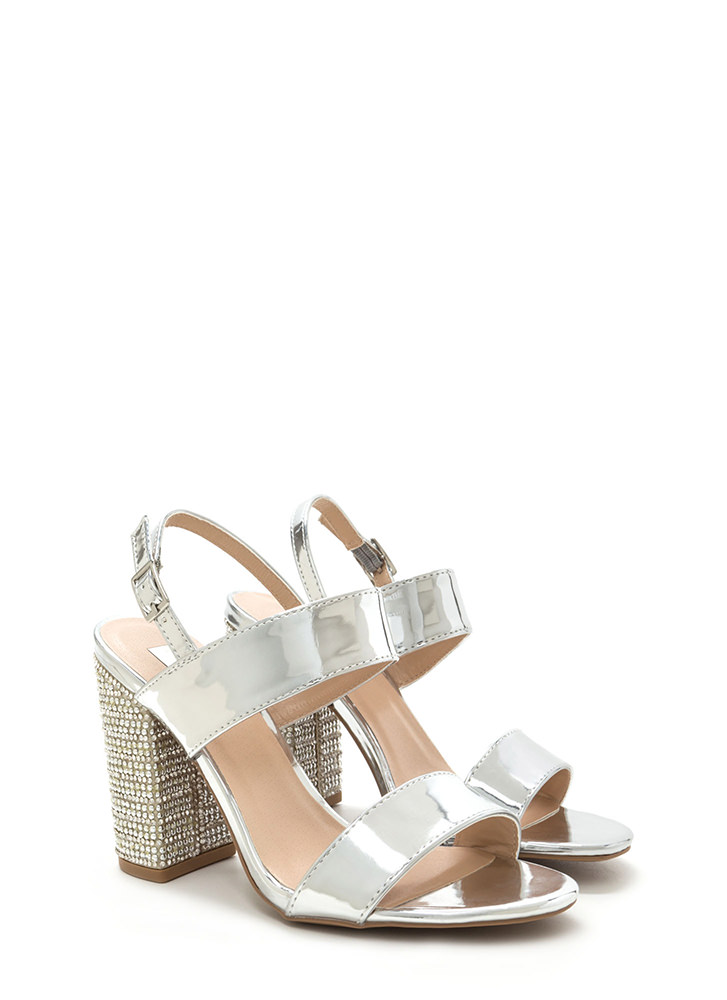 Radiant Design Chunky Metallic Heels SILVER