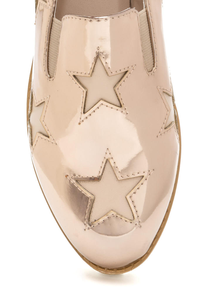 Stargazing Metallic Slip-On Sneakers ROSEGOLD
