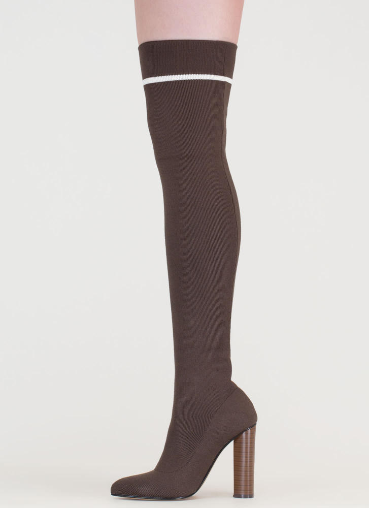 Knit's A Hit Pointy Thigh-High Boots KHAKIWHITE