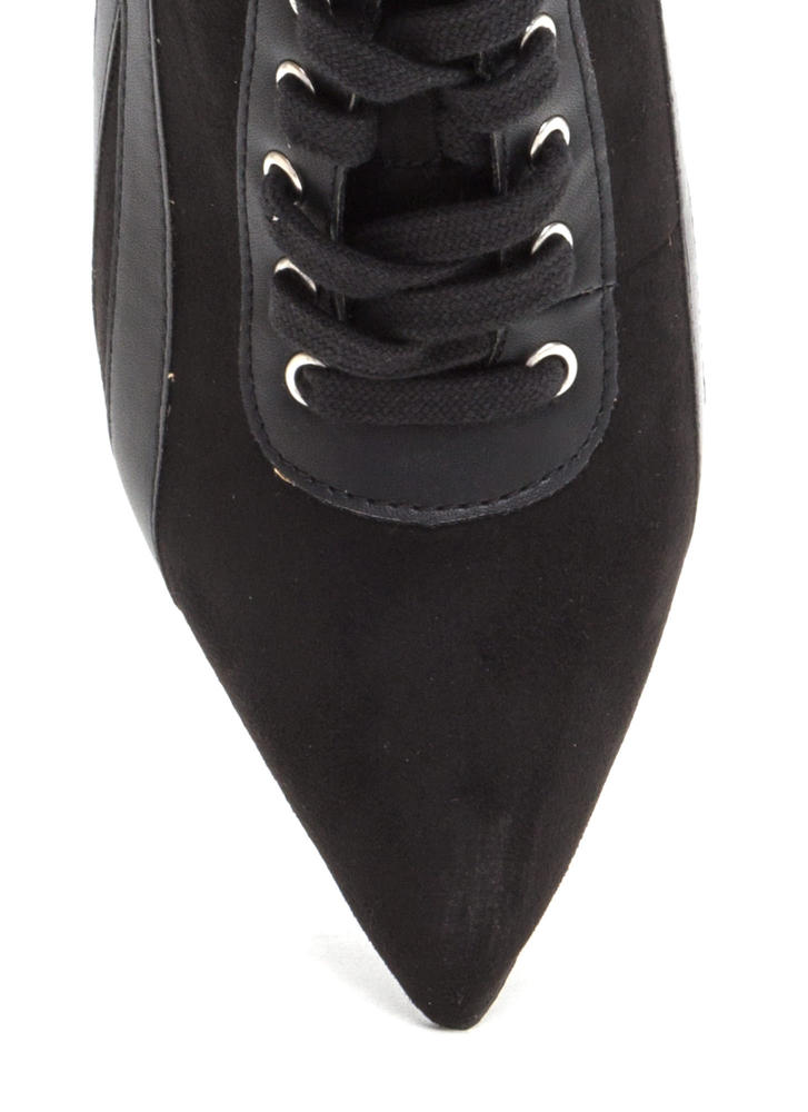 Point Blank Faux Suede Lace-Up Heels BLACK