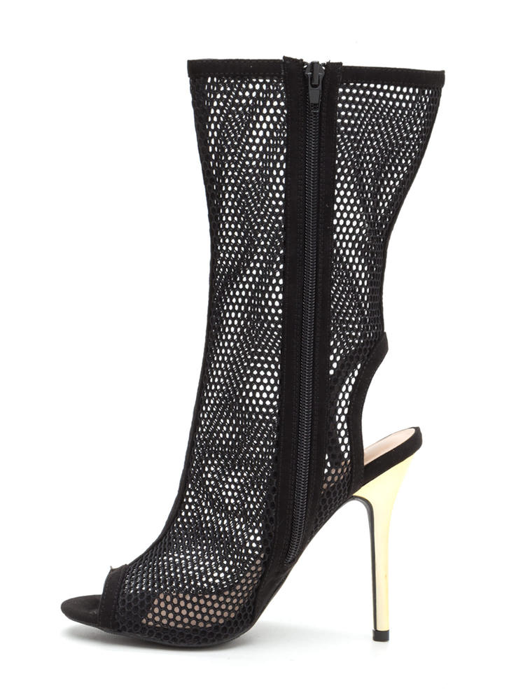 Net Result Cut-Out Metallic Heel Booties BLACK