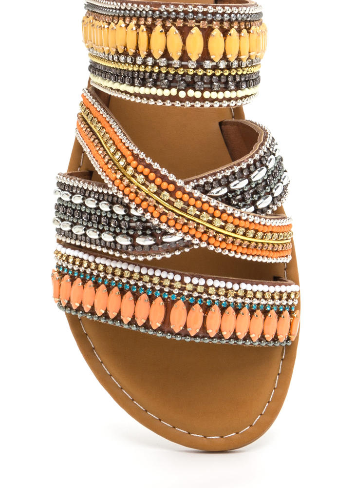 Fest Coast Style Strappy Slide Sandals TANMULTI