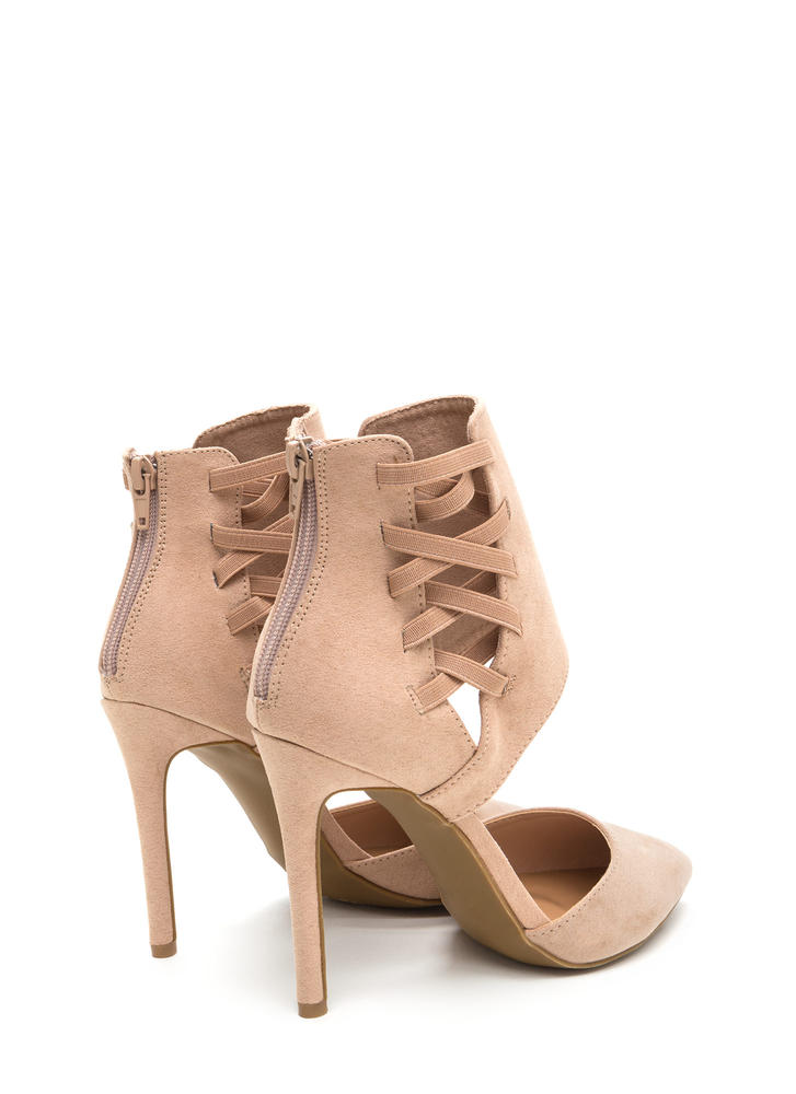Winning Point Laced Faux Suede Heels NUDE