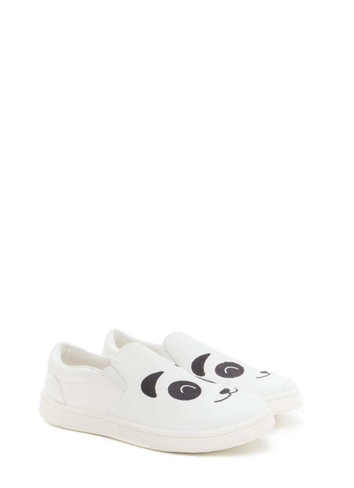 Happy Panda Faux Leather Sneakers WHITE