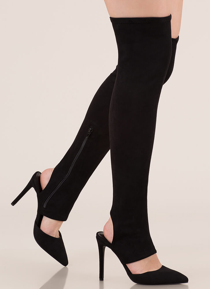 Get Your Point Cut-Out Faux Suede Boots BLACK (Final Sale)