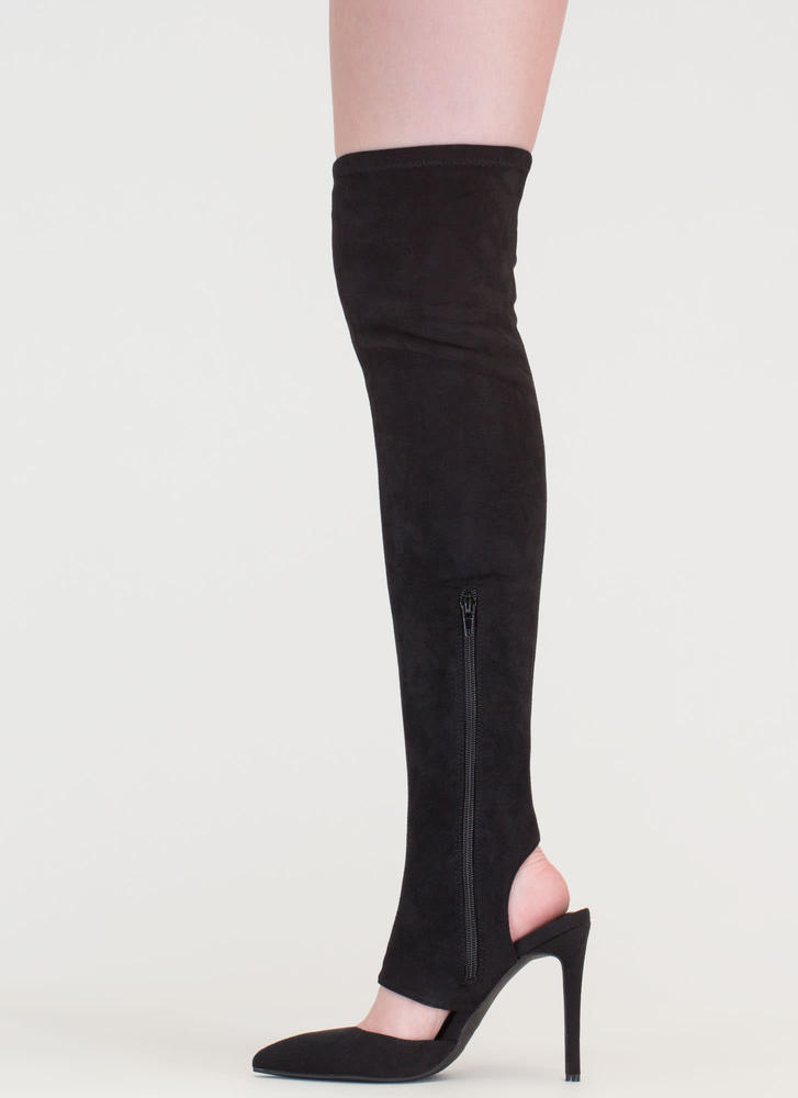 Get Your Point Cut-Out Faux Suede Boots BLACK
