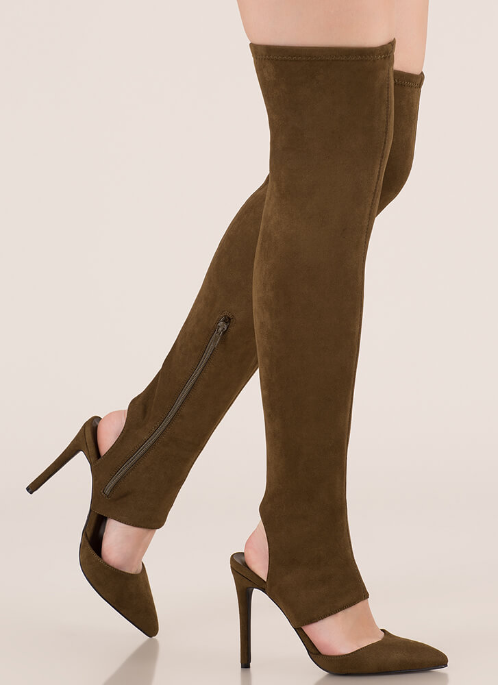 Get Your Point Cut-Out Faux Suede Boots OLIVE (Final Sale)