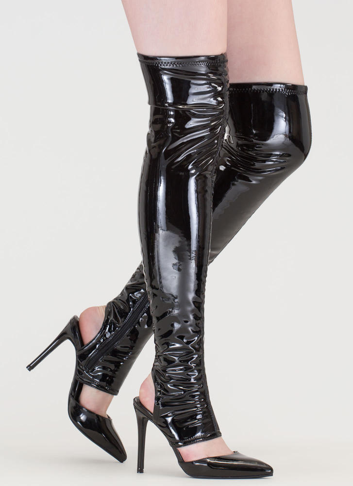 Get Your Point Cut-Out Faux Patent Boots BLACK (Final Sale)