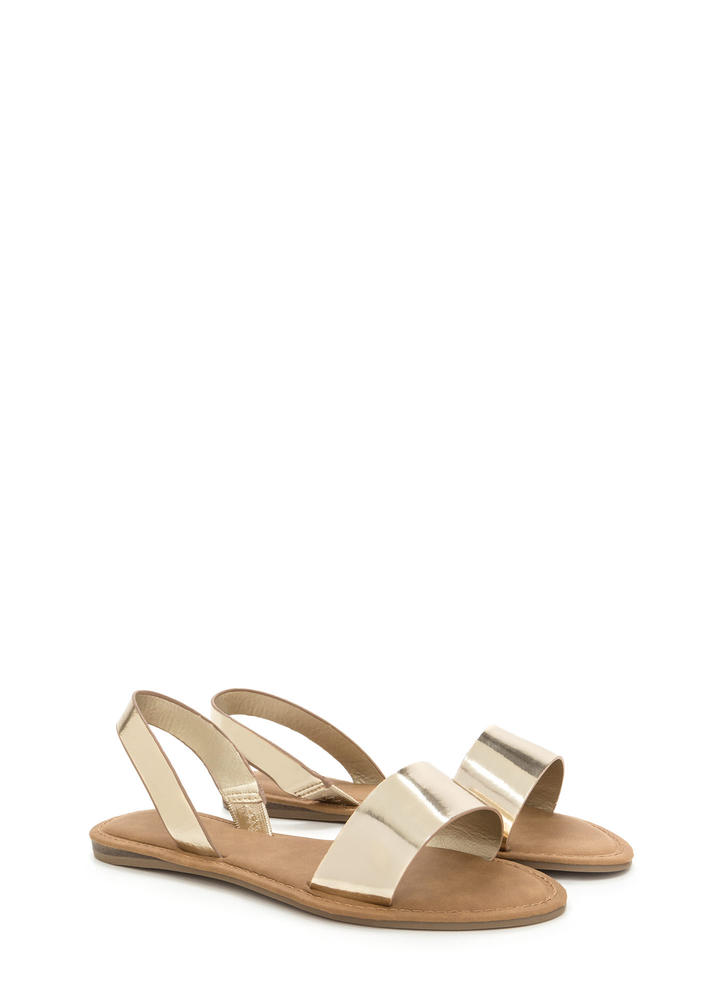 Simple Pleasures Faux Patent Sandals GOLD
