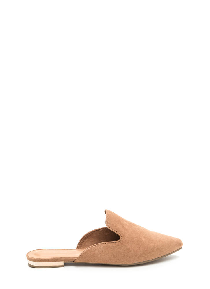 The Easy Life Faux Suede Mule Flats CAMEL