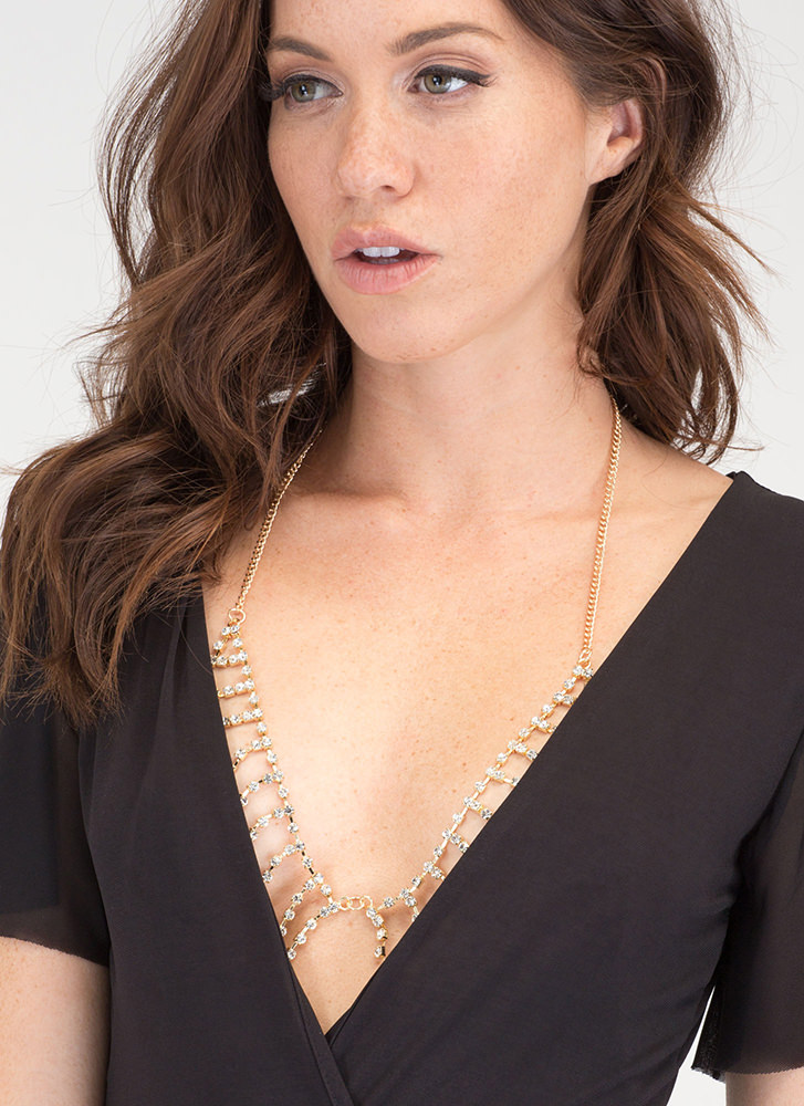 Love Chain Jeweled Bralette Bodychain GOLD