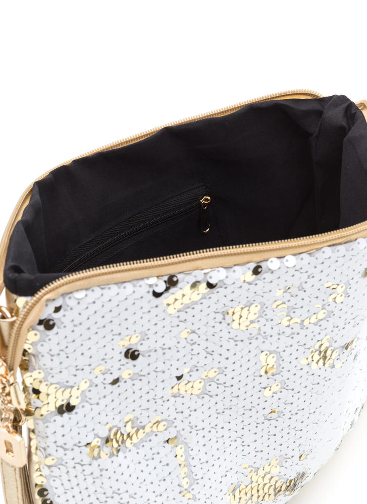 Sequin Fireworks Large Shiny Clutch GOLD