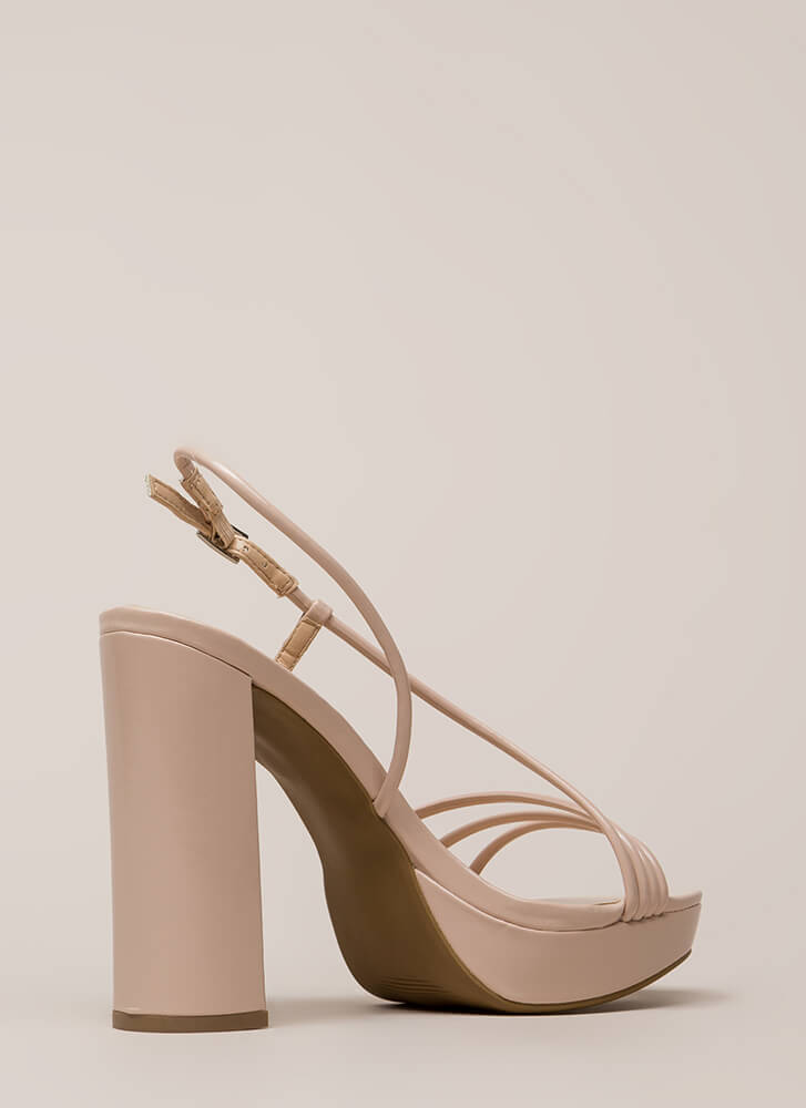 Strappy Mood Chunky Faux Patent Heels NUDE (Final Sale)