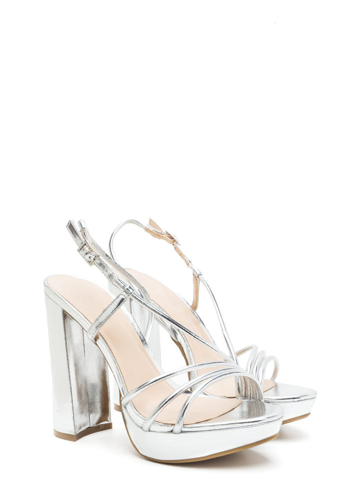 Strappy Mood Chunky Metallic Heels SILVER