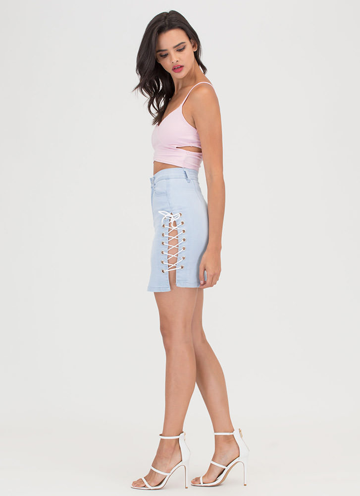 Blue Jean Baby Lace-Up Skirt LTBLUE