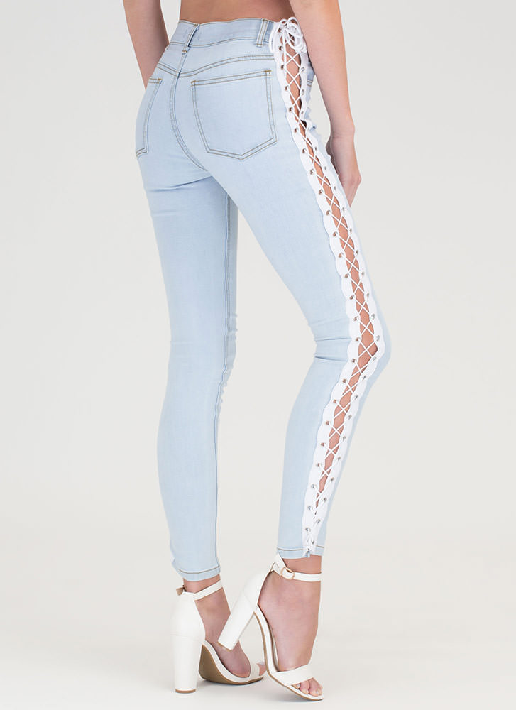 Casual Catwalk Lace-Up Skinny Jeans LTBLUE