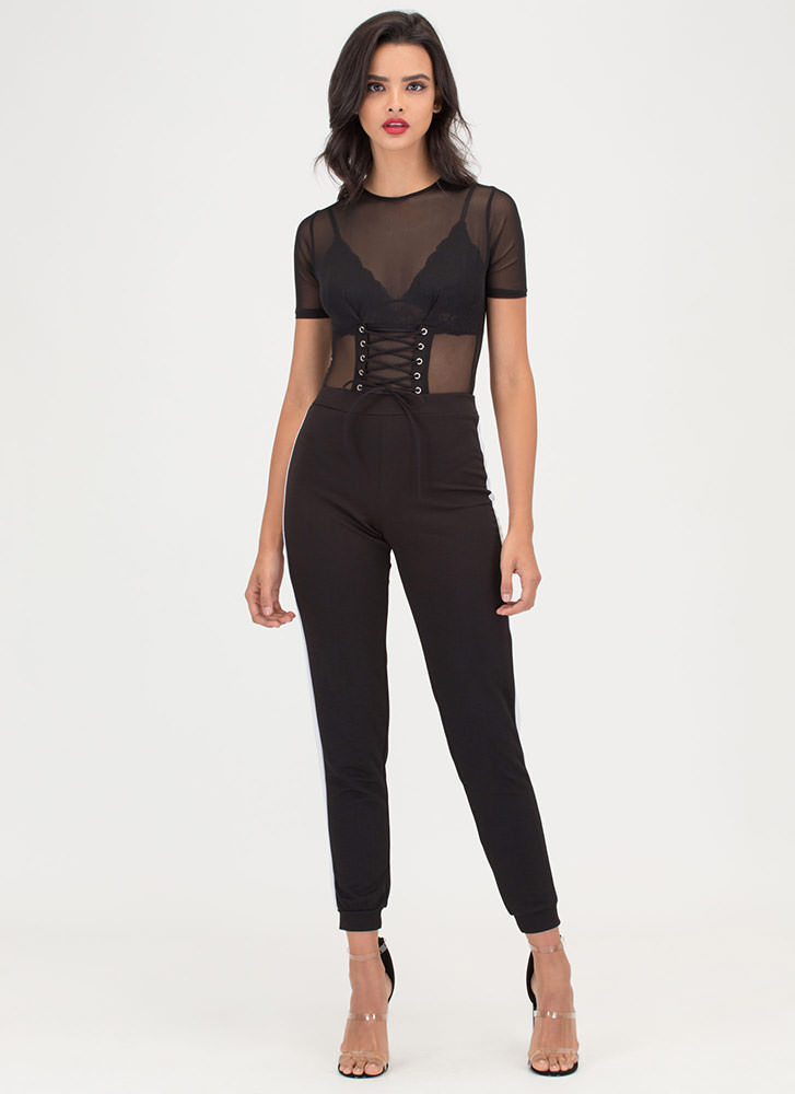 Waist No Time Sheer Lace-Up Bodysuit BLACK