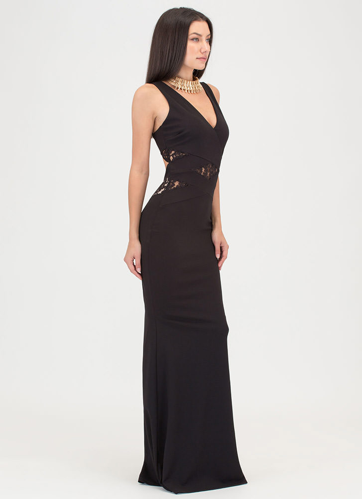 Lace Get Started Cut-Out Mermaid Maxi BLACK