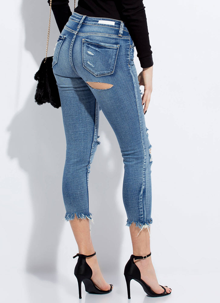 Crop It Like It's Hot Distressed Jeans BLUE