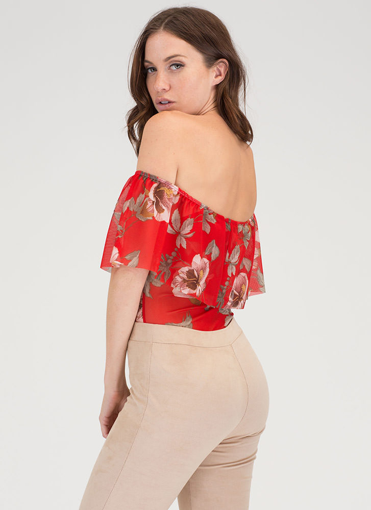 Fleur You Sheer Off-Shoulder Bodysuit RED