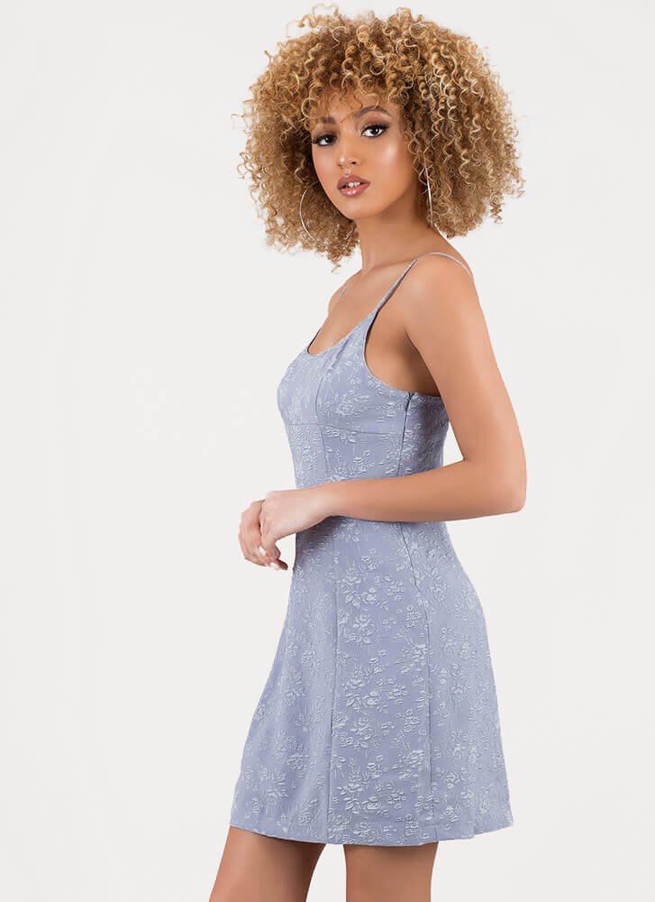 Delicate Flowers Floral Brocade Dress BLUE