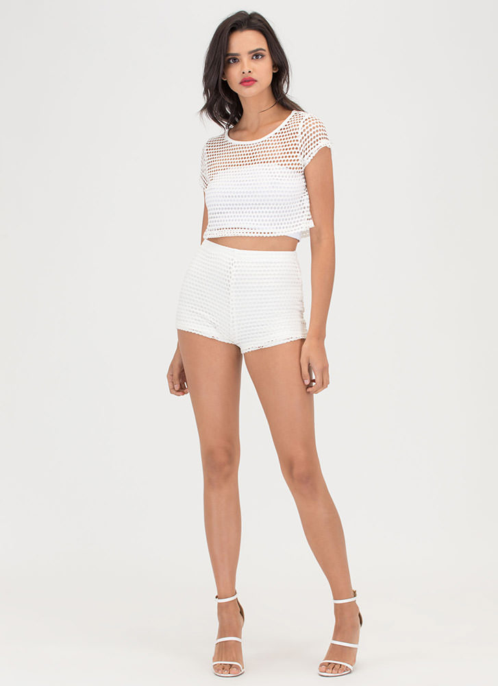 Fashion Win Sheer Net Two-Piece Romper OFFWHITE