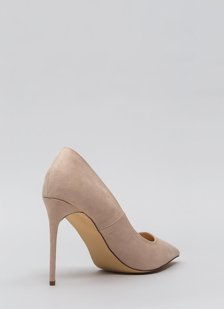 Sleek Up Pointy Faux Suede Heels NUDE