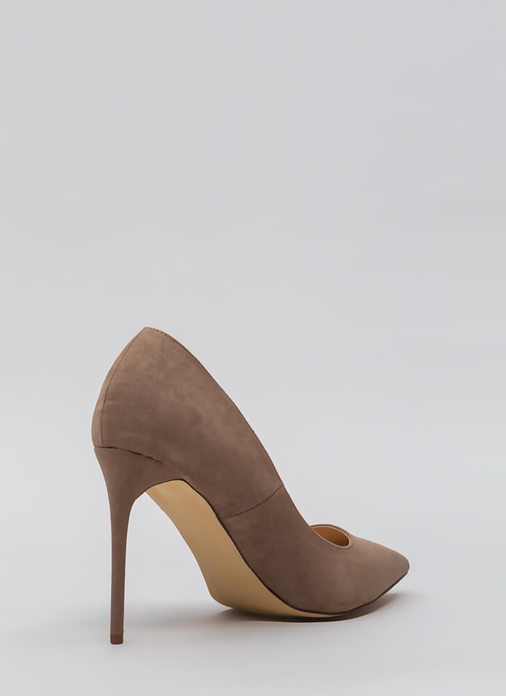 Sleek Up Pointy Faux Suede Heels TAUPE